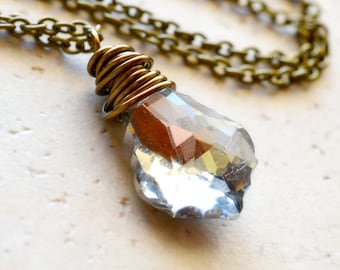 Metallic Crystal Necklace, Simple Antiqued Brass Wire Wrapped Jewelry, Baroque Crystal Silver Shade Swarovski Pendant