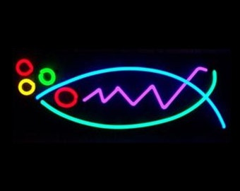 Abstract Neon Fish Wall Hanging Sculpture