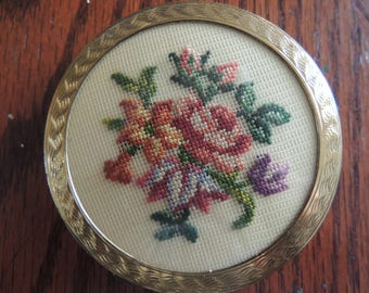 Vintage Powder Compact with Needle Point