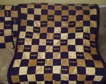 Crown Royal throw quilt purple gold