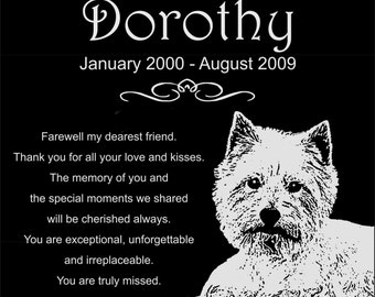 "Personalized West Highland White Terrier Dog Westie Pet Memorial 12x12 Inch Engraved Granite Grave Marker Plaque ""Dorothy"""