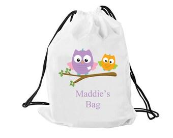 Personalised drawstring backpack, dance bag, swimming bag, school bag, owl printed bag