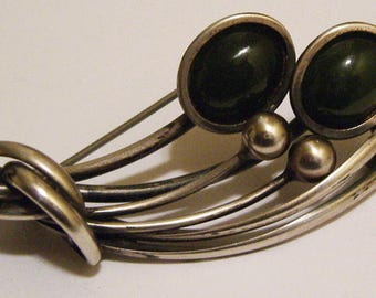 Vintage Designer Maxwell Chayat Modernist Sterling Silver Brooch with Onyx Stones
