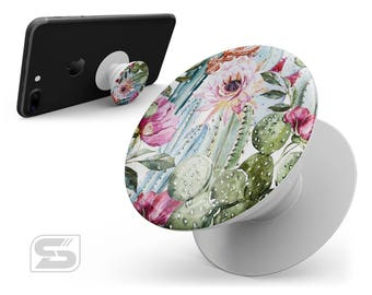 Vintage Watercolor Cactus Bloom - Skin Decal Kit for the PopSocket Smartphone & Tablet Stand