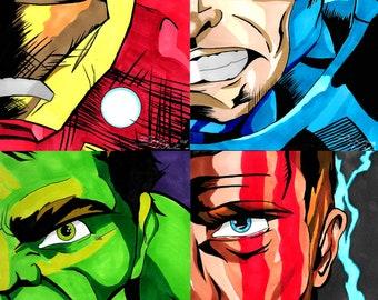 Avengers Head Print