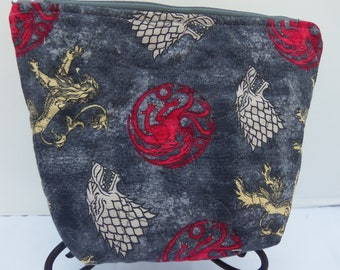 Game of Thrones Quilted Zipper Pouch