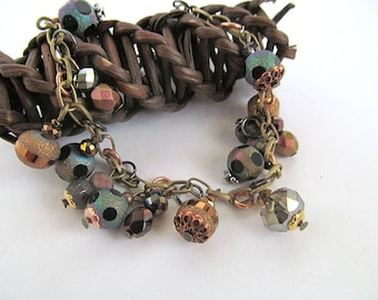 Gold Rush Charm Bracelet, Copper Bracelet, Metallic Beads, Oil slick, Moonlilydesigns, Mixed Metals, Glass Bead Dangle Bracelet, Rosegold