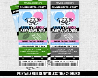 GENDER REVEAL TICKET Invitation Football Baby Shower Party + Diaper Raffle (print your own) Personalized Printable Files - Admit One