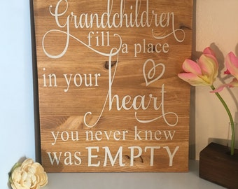 Grandparent Gift, Grandchildren fill a place in your heart , Personalized Gift for Grandparents, Grandparents sign,Christmas gift
