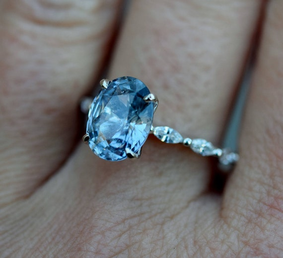 diamond il listing teal engagement sapphire ring trillion pear