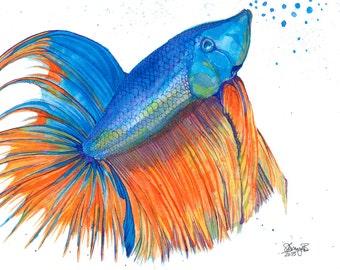 Fighting fish art etsy de for Siamesische kampffische