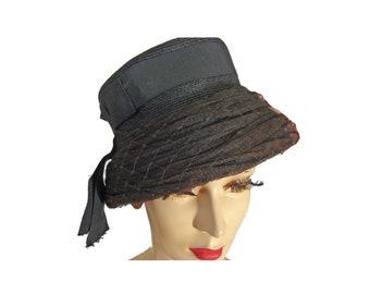 Vintage 1950s Hat Black Hat with Bow Valerie Modes