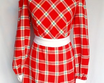 Vintage 60s 70s Designer Peter Robinson label Mod Dolly Red & White Check Plaid Print Mini Dress Small