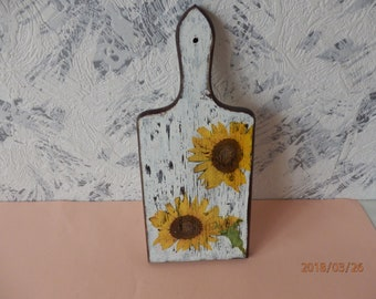 Hand Painted Vintage Cutting Board Wood Painted Old Wood Cutting Board Thick Primitive Used