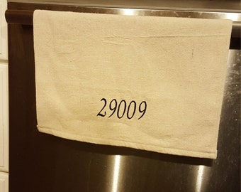 Embroidered Dish Towel, Zipcode, Drop Cloth,  Kitchen Towel, Personalized Towel, Housewarming Gift, Home & Living, Kitchen and Dining,Linens