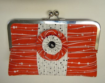 SALE - Red Black and White Linework Quilted Clutch