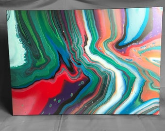 Go with the flow - FREE SHIPPING - Flip cup acrylic canvas by Artist Miranda - MA47