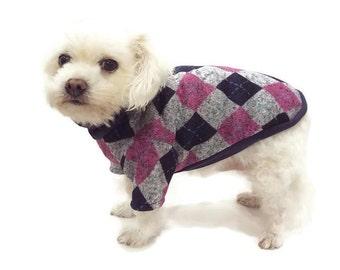 Pink and Navy Argyle Dog Sweater - Argyle Dog Sweater - Dog Clothes - Dog Clothing - Dog Apparel - Pet Clothes - Shirts for Dogs -Dog Shirts