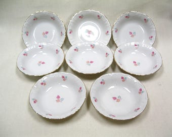 Winterling Bavaria Embossed White Gold Trim Floral Pattern Serving Bowls Set Of Eight