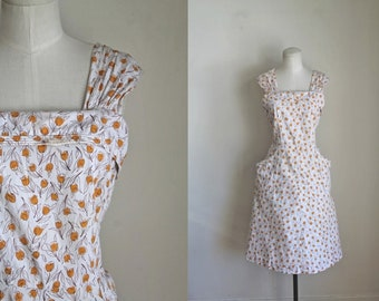 vintage 1940s/50s sundress - YELLOW TULIP pinafore dress / M