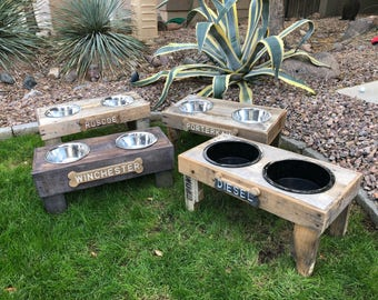 Wooden Pallet Dog Bowl Stand, Custom Rustic Weathered Feeder