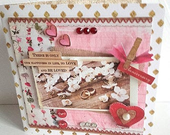 Double shabby vintage pink white wedding engagement birthday card hand made 3D baptism birth congratulations card