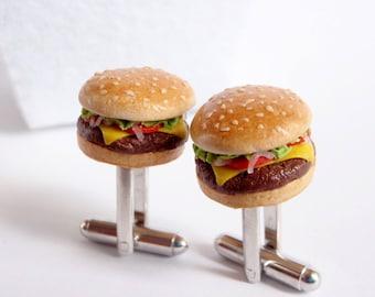 Cheeseburger Cufflinks - Miniature Food Art Jewelry Collectable - 100% Handmade Schickie Mickie Original