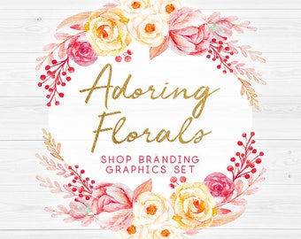 Shabby Chic Rustic Roses Shop Branding Cover Photo Banners, Icons, Business Card, Logo Label + More - 13 Premade Graphics - ADORING FLORALS