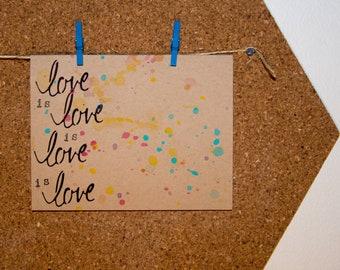 love is love - handmade greeting card