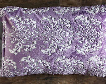 Minky Pillowcase, minky and satin pillowcase, satin pillowcase, pillow sham, soft pillowcase, child pillowcase, adult pillowcase, purple