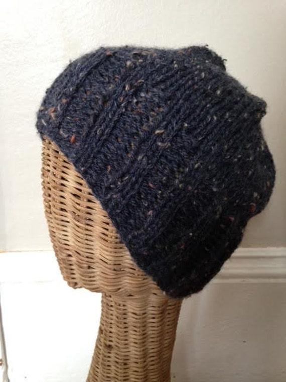 Dark Blue/Purprle Broad Ribbed Brim Slouchy Tweed Wool Beanie Hat