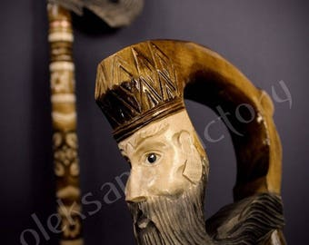 King Cane Collectible Cane Wooden Cane Walking Cane Wooden Stick Walking Stick Handcrafted Handmade Cane Woodcarving Exclusive Cane