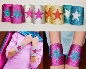 Girls Costume Accessory - Super Hero Wrist Bands - Super Hero Wrist Cuffs - Sparkle Wrist Bands - Glitter Wrist Cuffs - Quick Shipping