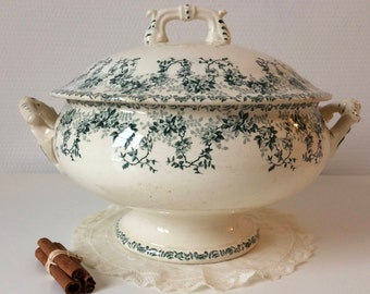 Antique Ironstone Tureen, Green tureen, Stamped  BOULENGER, Large tureen, French soup bowls,