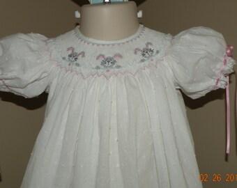 White Hand Smocked Easter Dress