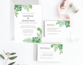 Tropical Hawaii Destination Wedding Invitation Suite Printable, Wedding Invitation Printable, Invitation Set,Letter or A4 (Item code: P1041)