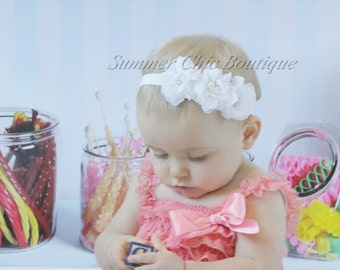 White Baby Headband, Infant Headband, Newborn Headband - WhiteHeadband Chiffon and Pearls Flower Headband