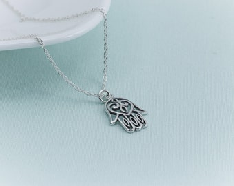 Hamsa Necklace, hand of fatima, sterling silver hamsa, Sterling Silver Necklace,  Yoga Jewelry, protective amulet