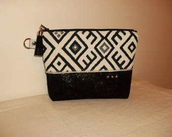 Pouch, organizer bag, clutch makeup in Navy Blue graphic fabric and white suede