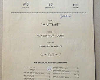 """1937 Antique Sheet Music: WILL YOU REMEMBER (Sweetheart) from """"Maytime"""""""