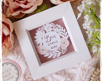 Love Grows Here - Miniature Paper Cut - Weddings - New Home - Home Decor