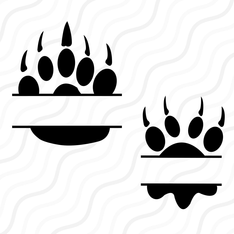 Download Split Paw SVG Paw Monogram SVG Paw Print SVG Cut table