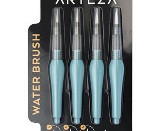 Arteza Water Brush Pen - Self-moistening - Portable (Assorted Tips, Set of 4)