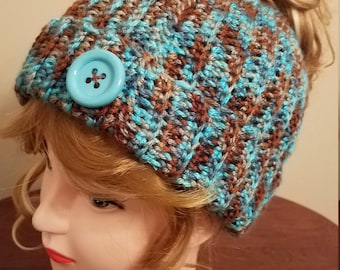 Waterscape Messy Bun Hat. Super soft, for teens or adults - Ready to be Shipped