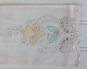 Vintage Linen Towel - Madeira - Ivory - Lovely Cottage Style - Yellow Green Flower Detail - Hand Embroidery - Rare - New with Tags