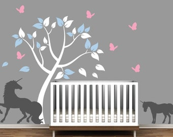 Children's Room Wall Wall Decal with Unicorns and Colorful Tree