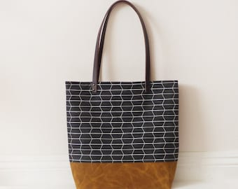 Honeycomb brown waxed canvas tote bag with leather handle