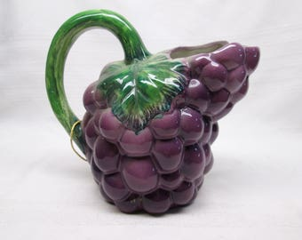 Vintage Purple Grape Bunch with Green Leaves Water Pitcher - Decorative Ceramic Fruit Pitcher - Originally from Chicago Carson Pirie Scott