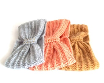 Turban Headband, Knitted Head Warmer, Knit Head Wrap. Pick Your Color.