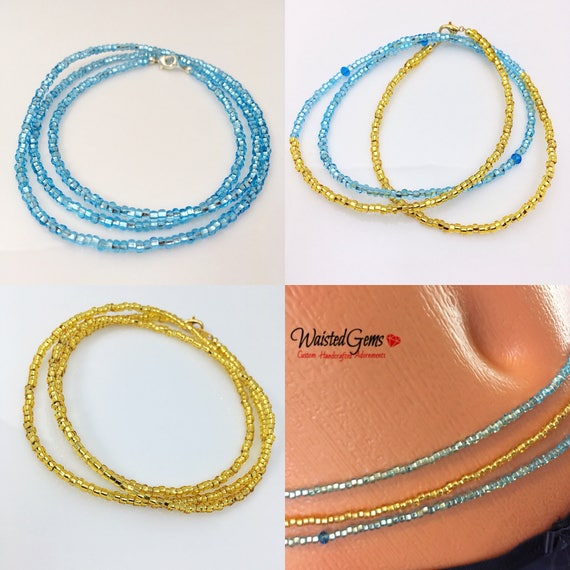 Blue and Gold 3 pc Waist Bead Set, African Waist Beads, Crop Top, Belly Chain, Waist Beads, Waist Trainer, Gifts for her